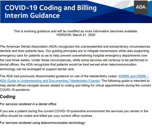 Teleheath Coding and Billing Guide from the ADA